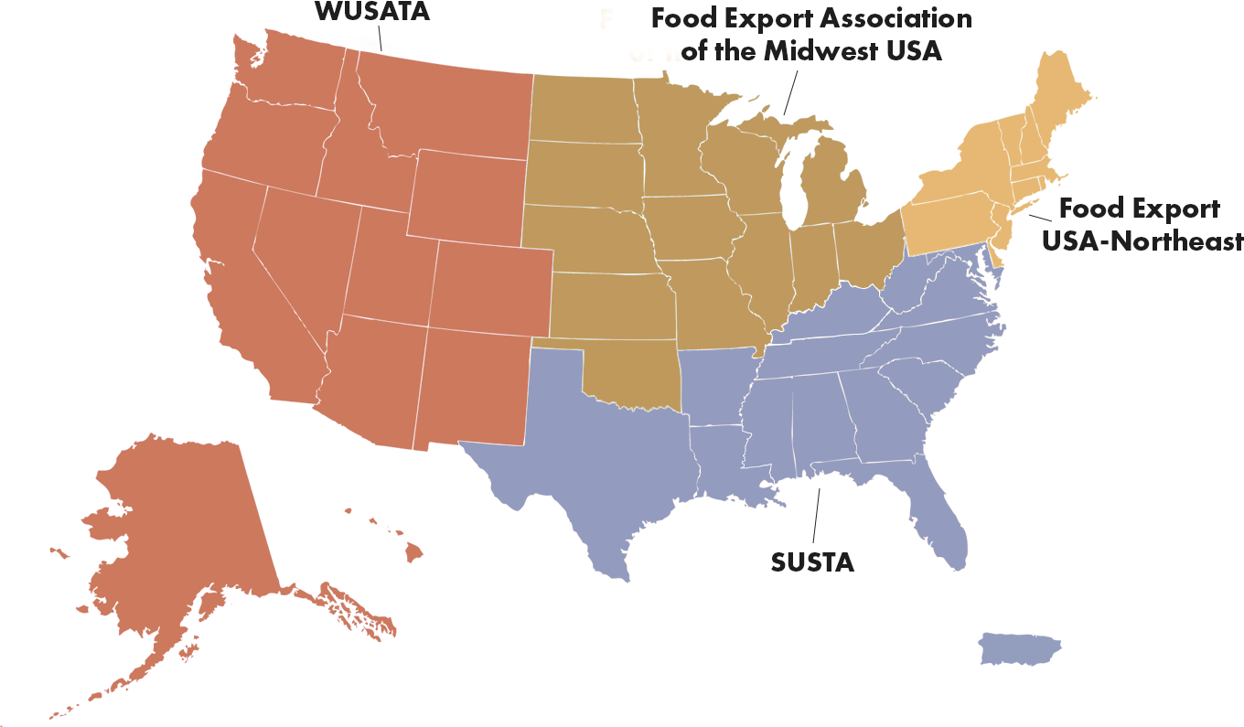 Map of SUSTA, SUSTA, Food Export USA-Northeast, and Food Export Association of the Midwest USA.